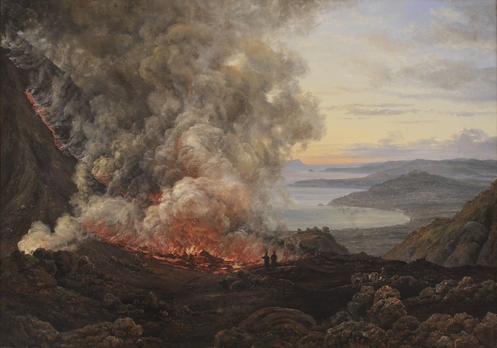 artmastered:  Johan Christian Dahl, Eruption of the Volcano Vesuvius, 1821, oil on canvas,98.3 x 137.5cm, Statens Museum for Kunst, Copenhagen. Source When Dahl was visiting Naples in 1821, Mount Vesuvius erupted. The artist was able to sketch the event from (very!) nearby, and he then used these drawings to create a series of oil paintings. This natural phenomenon wouldhave greatly appealed to the Romanticists and their followers.