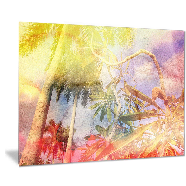 Designart \'Yellow Retro Palm Trees\' Landscape Painting   Products ...