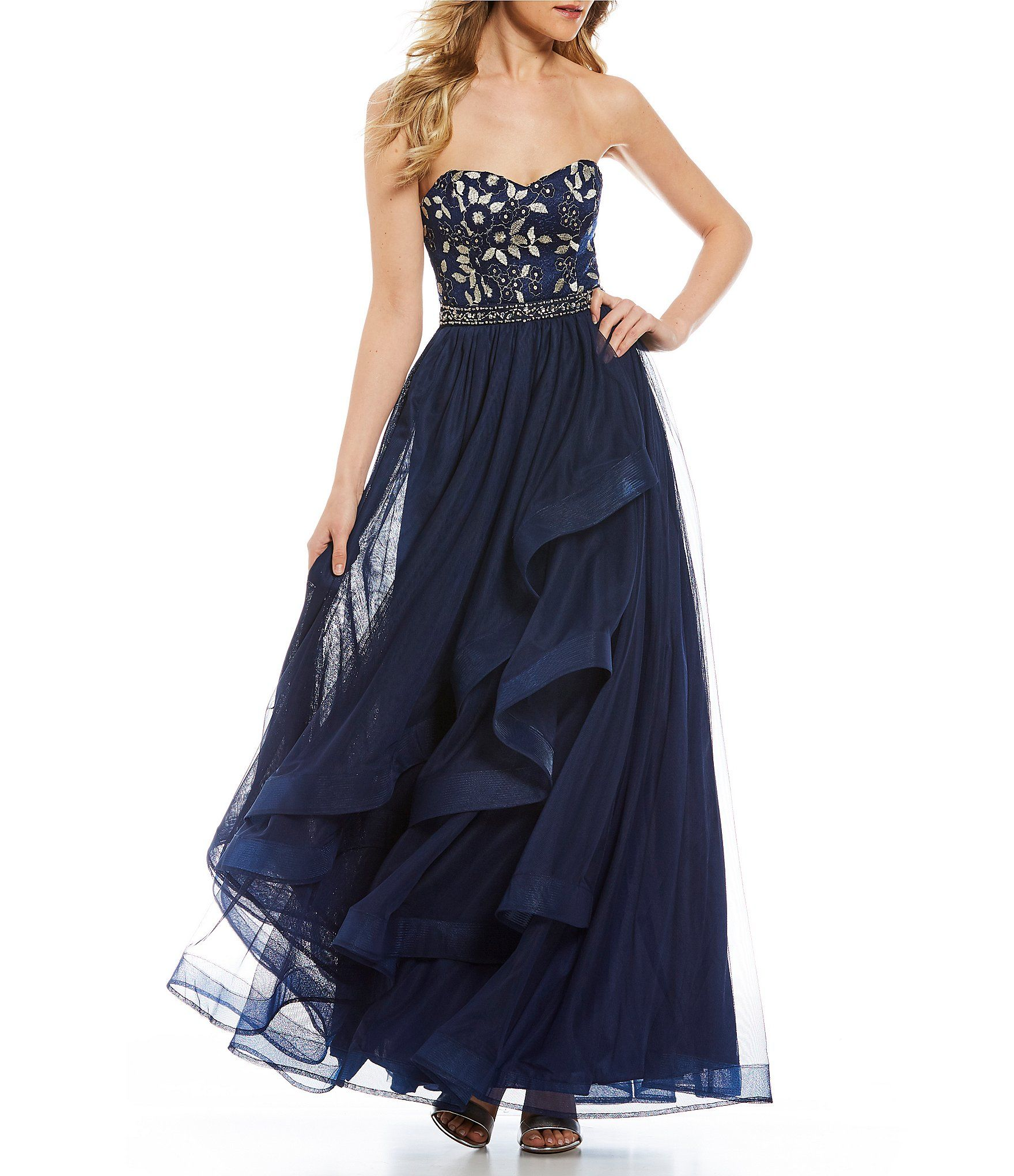Sequin Hearts Strapless Embroidered Bodice Ball Gown #Dillards ...