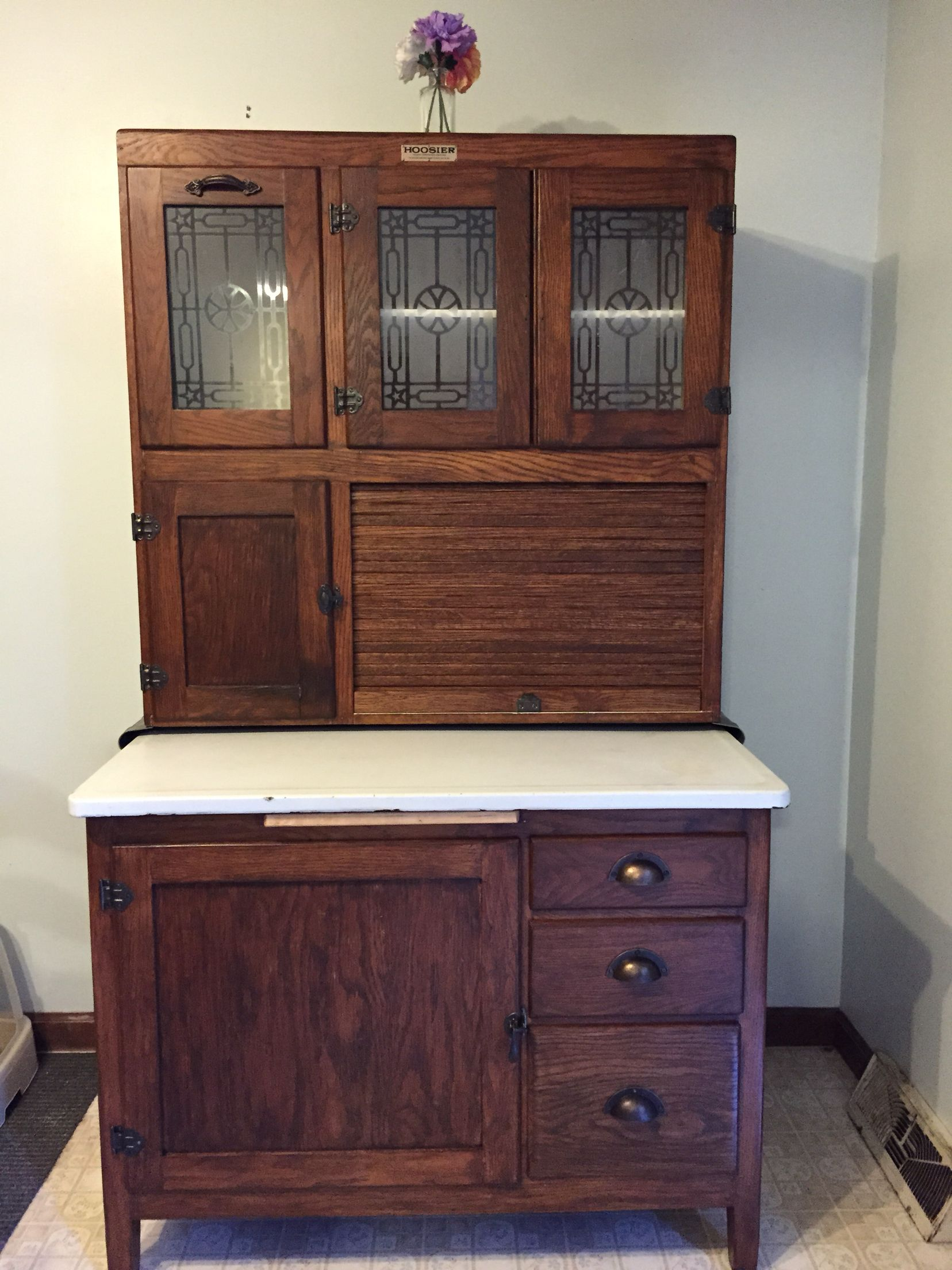 This Is My Momu0027s Hoosier Cabinet After 5 Weeks Of Restoration. I Stripped  It Down With Citristrip And Sanded It. I Then Used A Coat Of General  Finishes ...