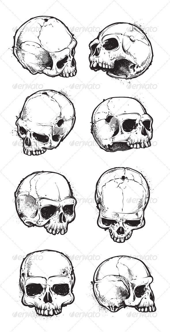 Hand Drawn Skulls Set Skull Sketch Skulls Drawing Skull Drawing