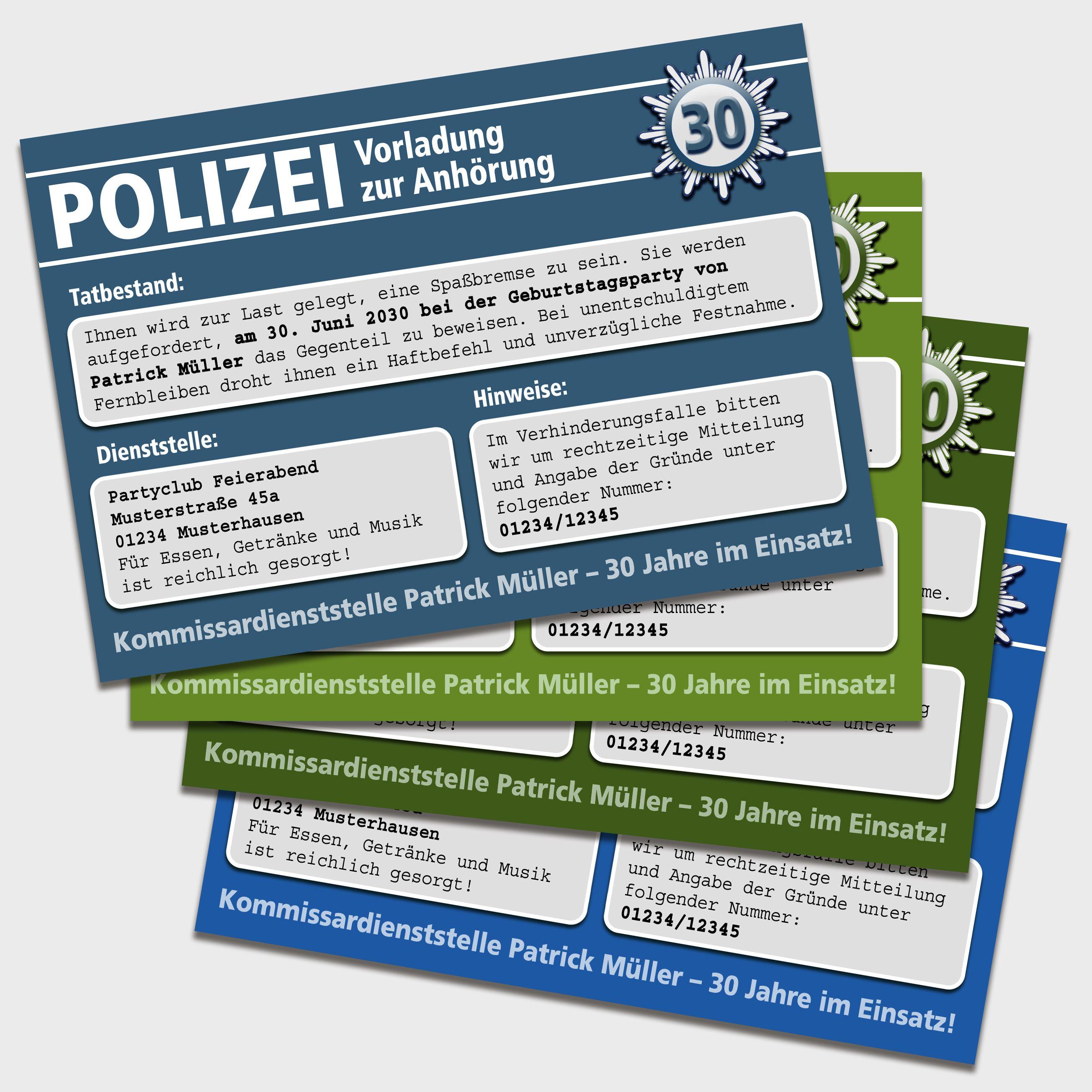 Einladung Zum Geburtstag Oder Zur Party Als Vorladung Zur Polizei Sie Mochten Ihren Gasten Eine Originelle Einladung Geburtstag Polizei Geburtstag Einladungen
