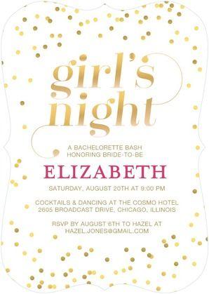 Shimmering Night Signature White Bachelorette Party Invitations