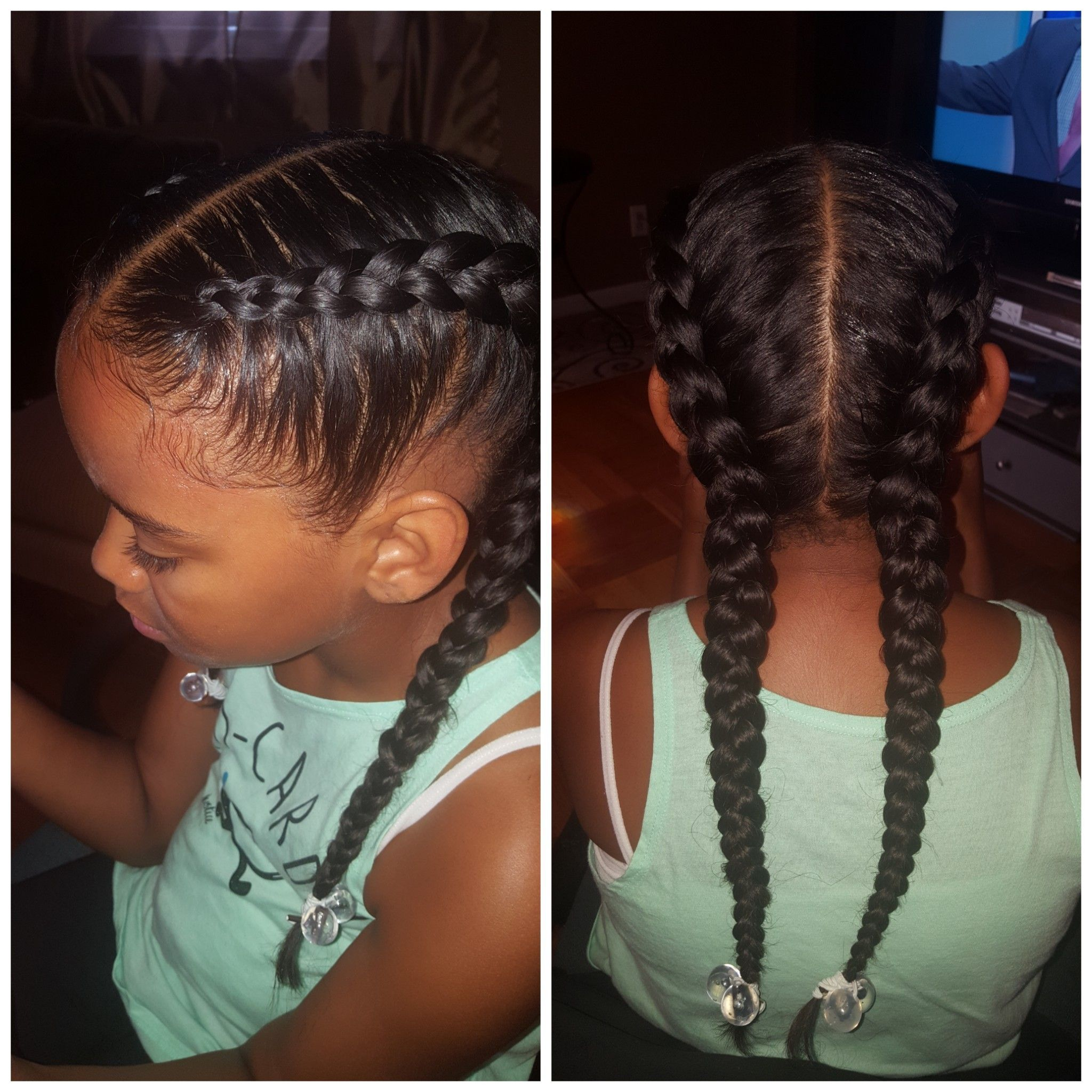 Two Braids Feed In Braids Hairstyles Kids Hairstyles Natural Hairstyles For Kids