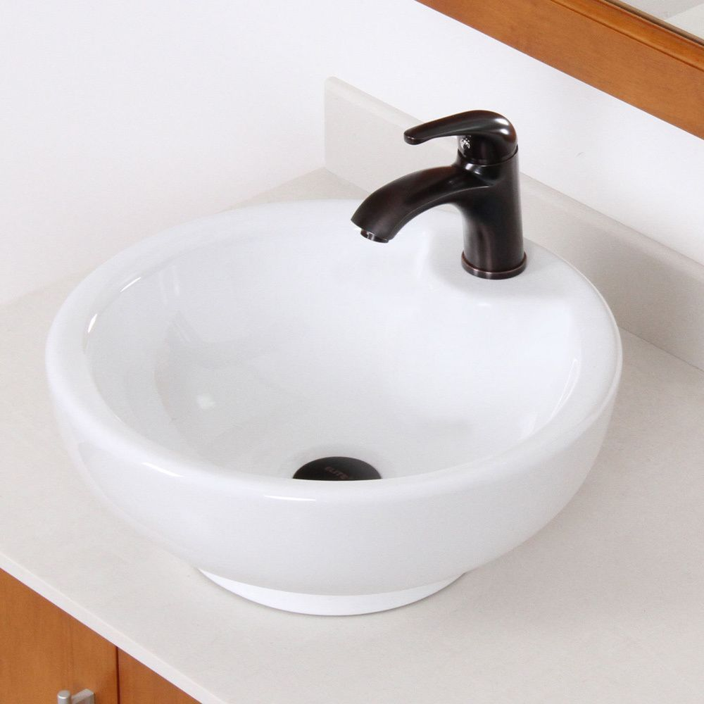 Elite Bathroom Vessel Sink And Oil Rubbed Bronze Faucet Set Crafted