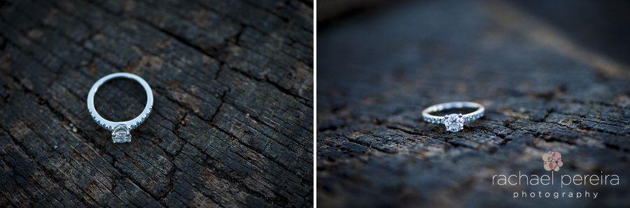 Engagement ring on wood log