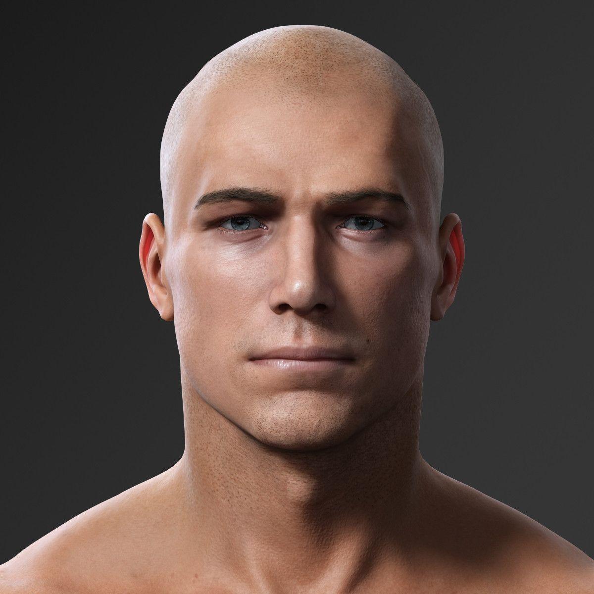 Photorealistic Male Body Realistic Head Model Male Face Drawing Male Body Drawing 3d Face Model