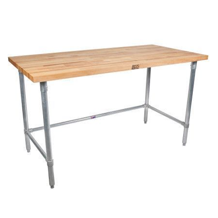 John Boos Jnb17 Maple Top 96 X 36 Work Table With Galvanized Legs And Bracing Bakers Table Work Table Block Table