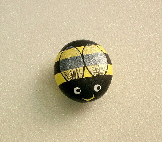 Bumble Bee, Painted Rocks, Yellow, Summer, Honey Bee, Country Kitchen Decor