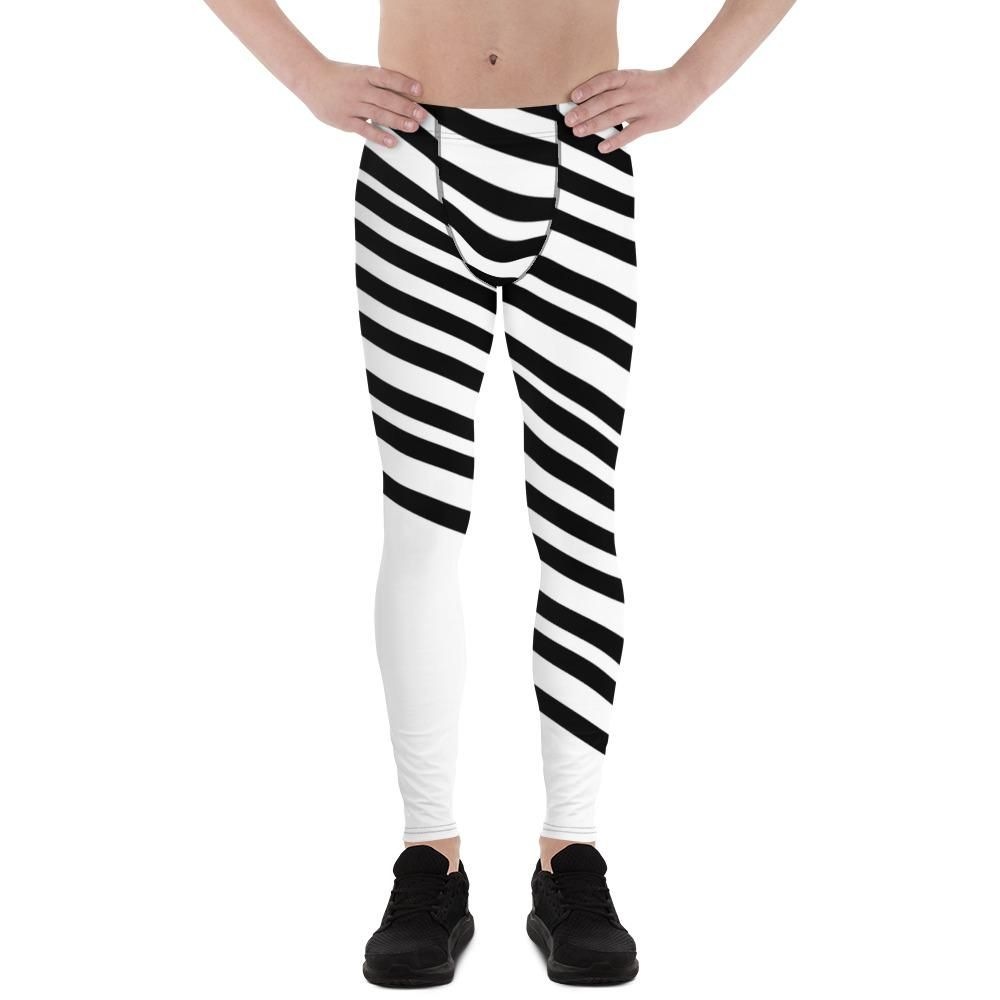 c084e73f3bea2 Atsuya Black and White Diagonally Striped Men's Running Leggings & Run  Tights Meggings Activewear- Made in USA/ Europe (Size: XS-3XL) These are  iconic ...