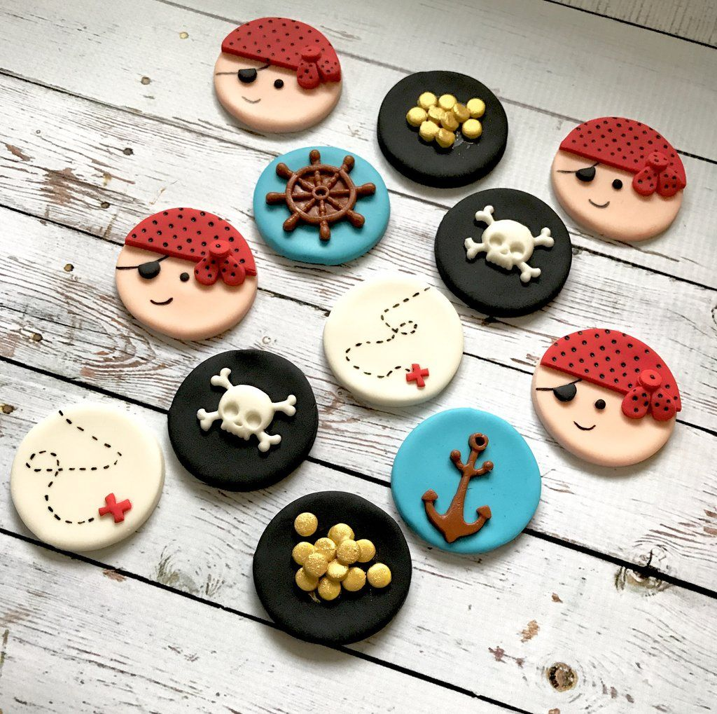 12 Pirate Ships Edible Cupcake Topper Icing Image Birthday Party Cake Decoration