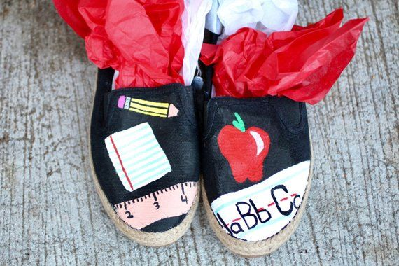 82471d8c68b71 Teacher Hand Painted Custom Canvas Shoes / Gifts for Her / #1 ...