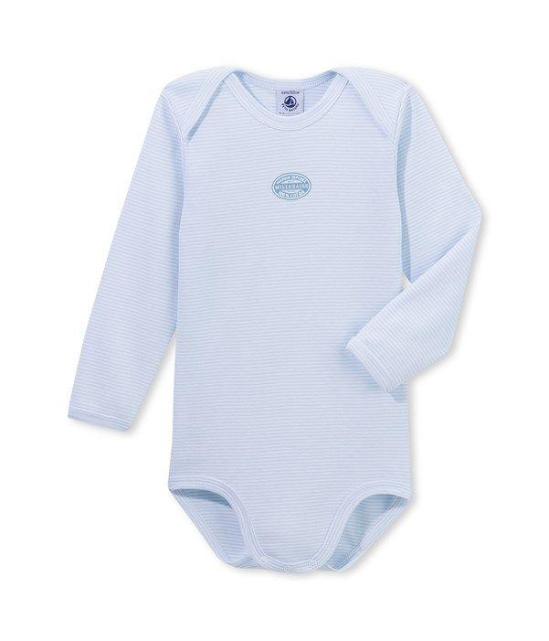 Body bébé garçon manches longues à milleraies Petit Bateau bleu ... 7f0b43a14d6