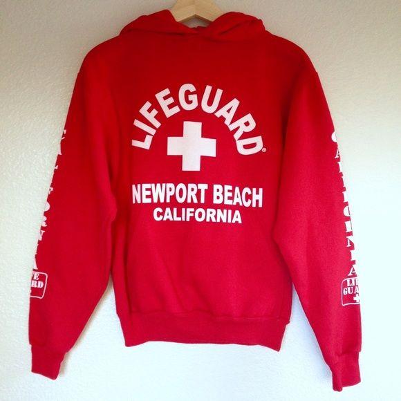Newport Beach LifeGuard Hoodie NWOT, never worn.  Bought it at a shop at Newport Beach, CA.  Size S.  True to size.  No trades. Lifeguard Tops Sweatshirts & Hoodies