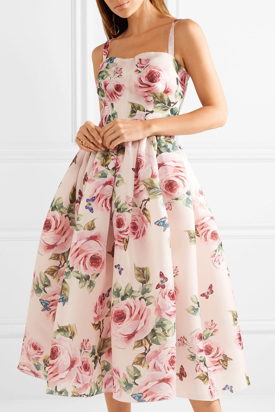 acbf24a11393 Dolce & Gabbana | Pleated floral-print silk-organza midi dress |  NET-A-PORTER.COM