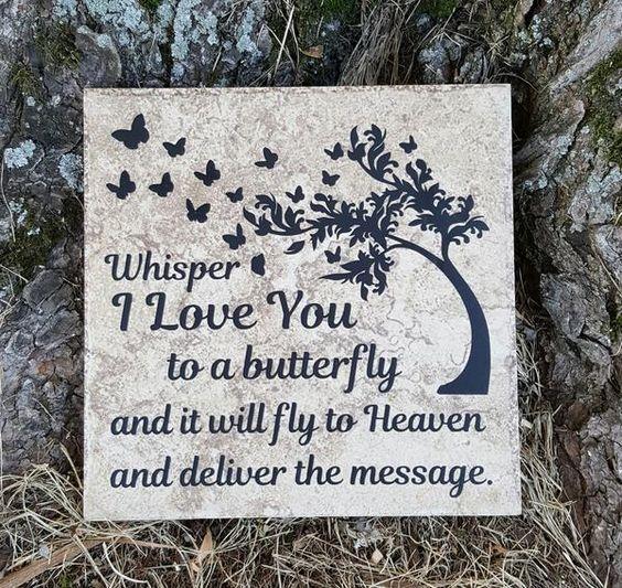 X Whisper I Love You To A Butterfly Ceramic Tile Whisper - Ceramic photo tiles headstone