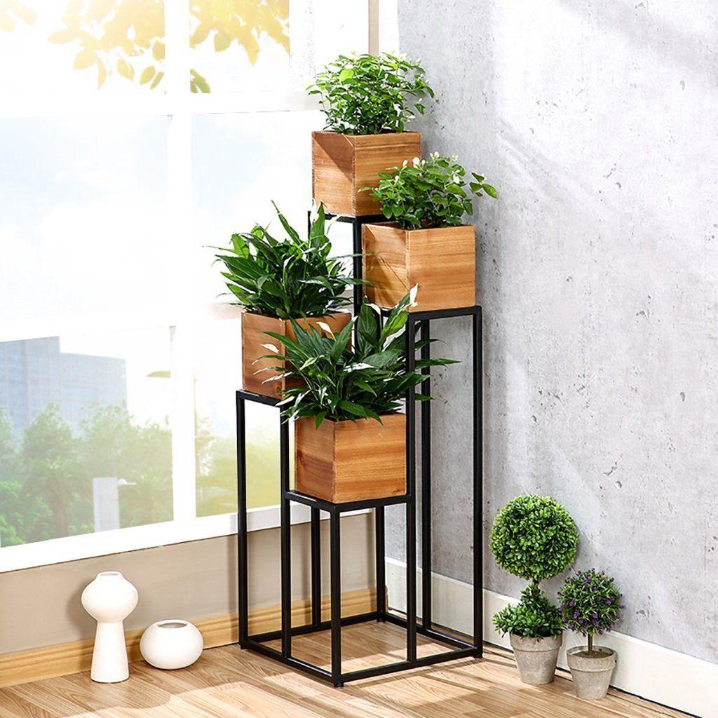 Flores estanter a estantes para plantas escalera met lica - Soporte macetas ikea ...