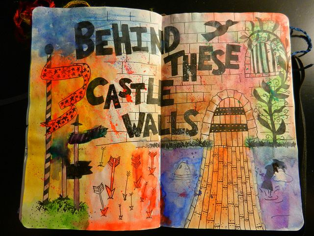 castles & buttons art journaling inspiration...dream's..remember the space airplane? the giant bridge? running through the tree's..I'm just reminding myself this is a great way to play with dreams and their alternative happy ending's :P