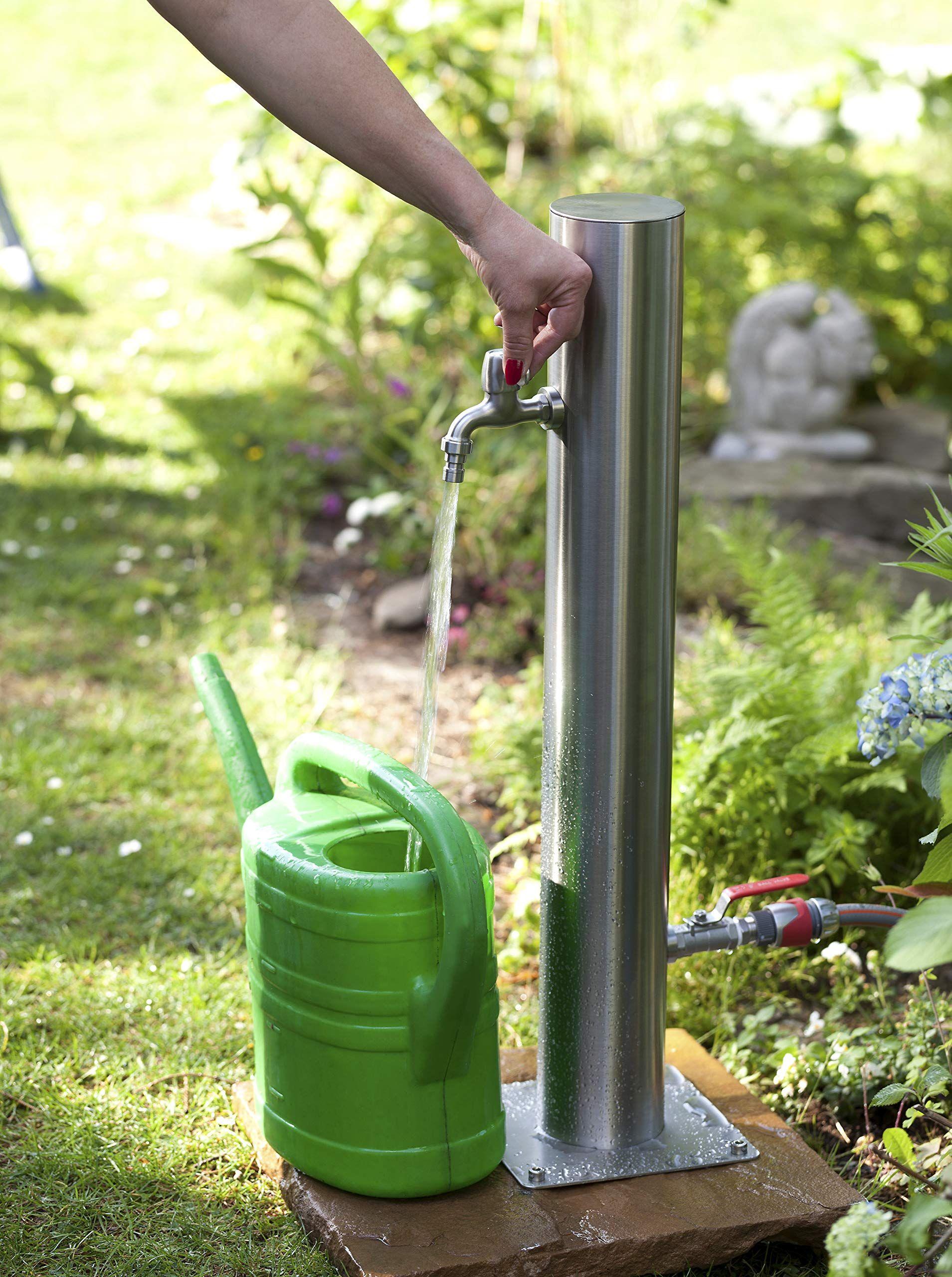 Westfalia Wasserwelten Wasserzapfsaule Aus Edelstahl Mit 2 Auslaufhahnen Amazon De Garten Back Garden Design Outdoor Patio Designs Easy Landscaping