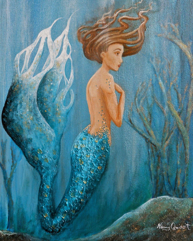 Mermaid wall art mermaid on canvas blue sea fairy print original painting by
