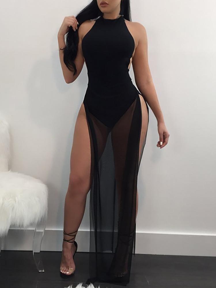 21a81a5ac47 Seductive See Through Mesh High Slit Maxi Romper Dress | Fashion ...