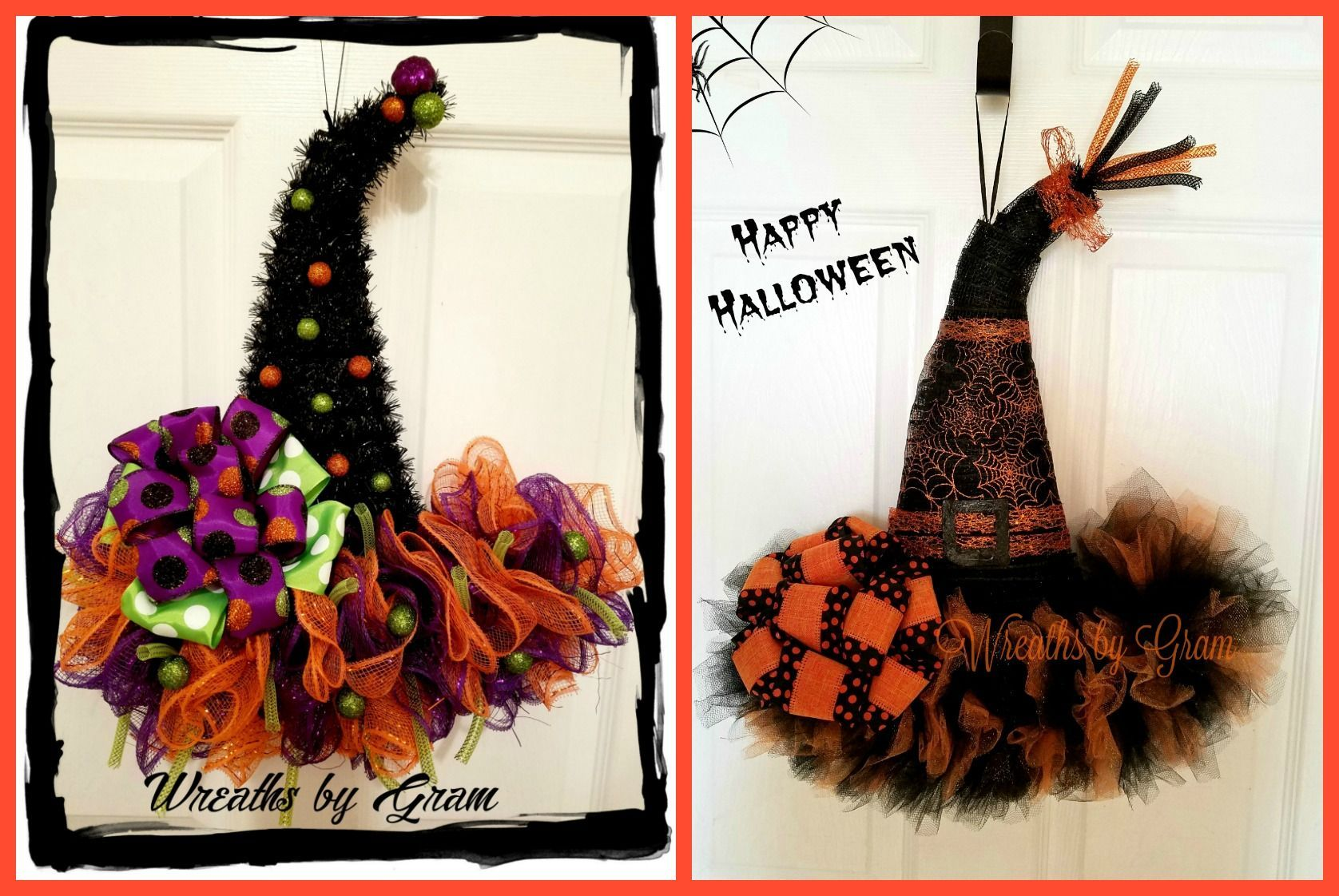 Witch Hat Wreath Witches Hat Door Hanger Halloween Decor - whimsical halloween decorations