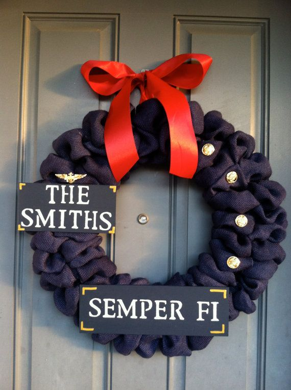 Photo of Items similar to FREE SHIPPING Marine Corps Burlap Wreath Buttins and Emblem not included on Etsy