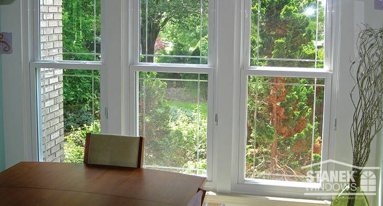 White Double Hung Windows With Single Prairie Pattern