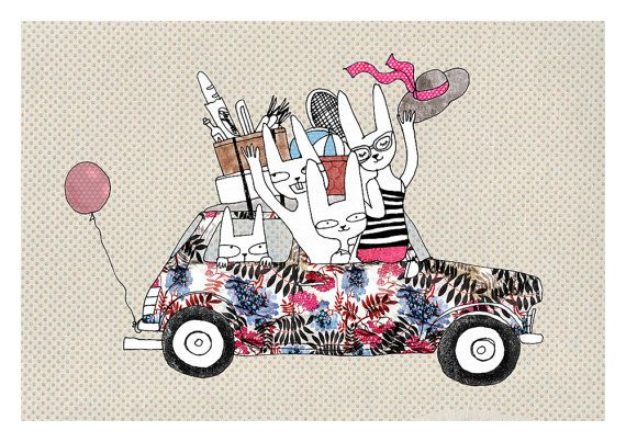 Holiday animals in mini car A4 print by SurfingSloth on Etsy