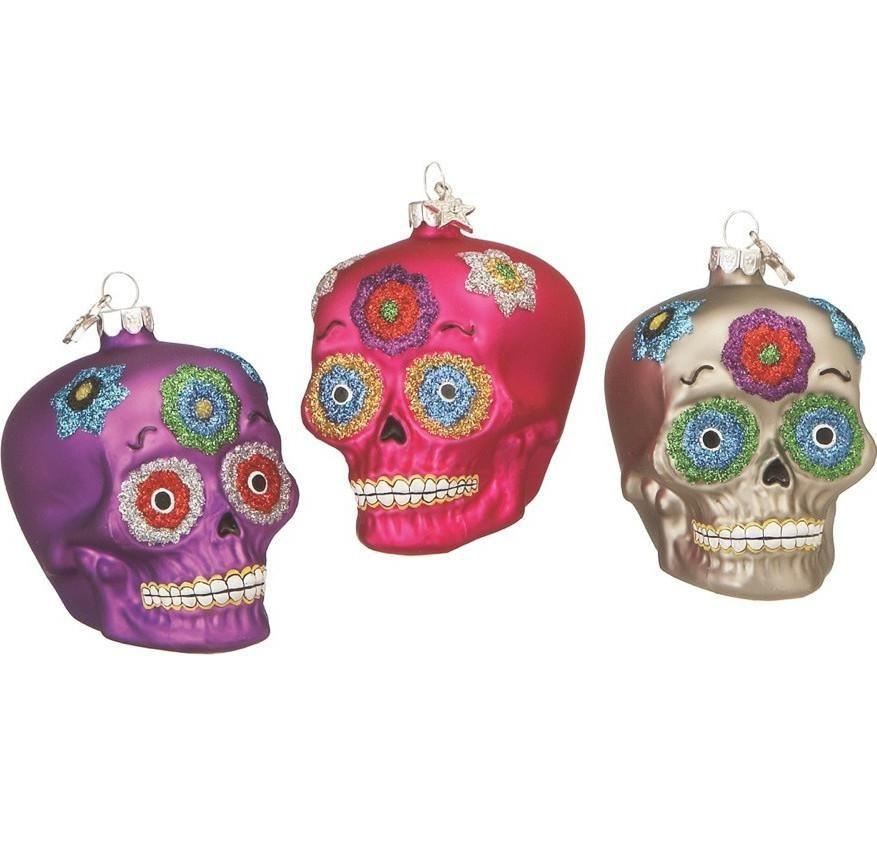 Day of the Dead Sugar Skull Glass Ornaments   Christmas ornament sets, Glass christmas ornaments ...