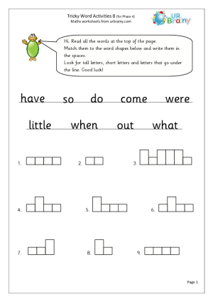 Tricky Word Activities 8 English Worksheet For Key Stage 1 Tricky Words Word Activities Words