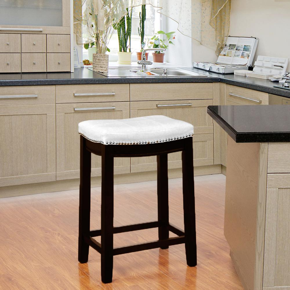 Linon Home Decor Claridge 26 In White Cushioned Counter Stool