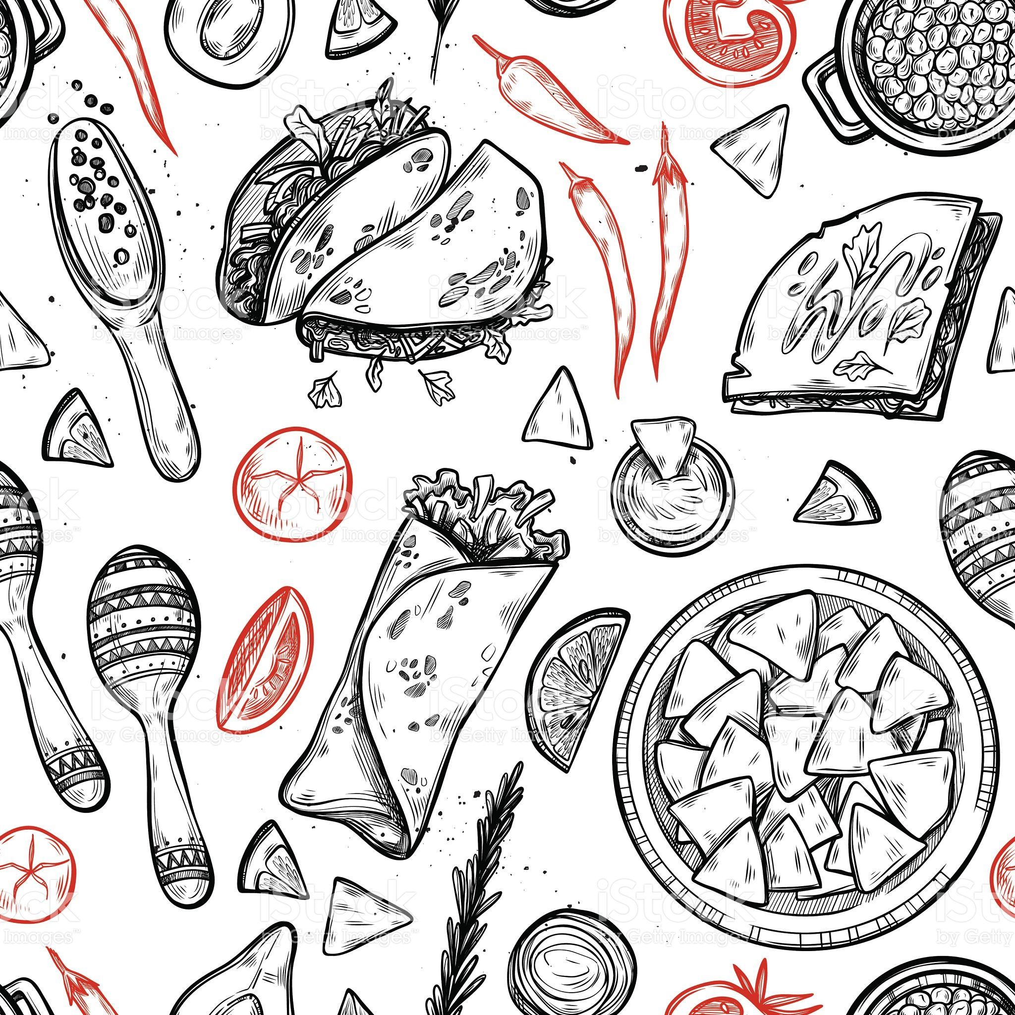 Hand Drawn Vector Background Mexican Food Sketch Seamless Pattern Mexican Food Recipes How To Draw Hands Background Drawing