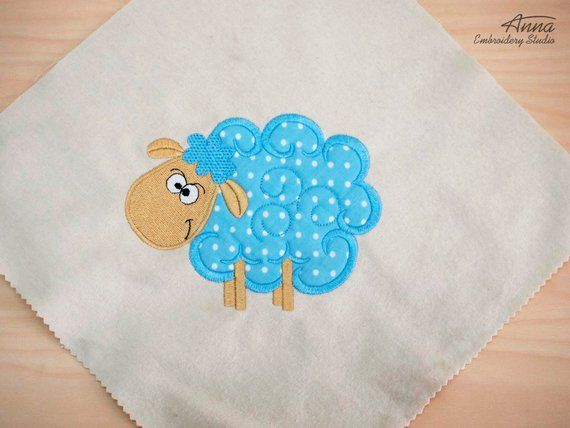 Lamb applique design for embroidery machine hoop