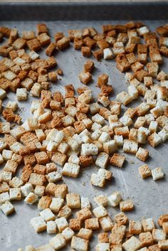 Ina Garten: To make croutons, I toast bread cubes on a sheet pan at 350 degrees for 8 to 10 minutes, tossing once.