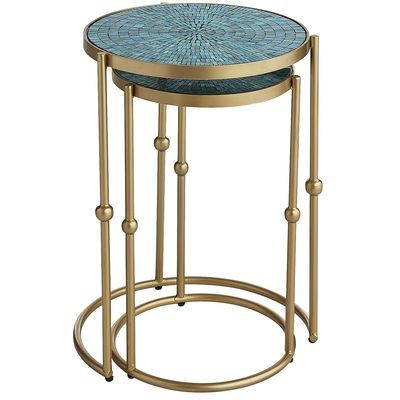 Teal Nesting Tables Nesting Tables Mosaic Accent Table