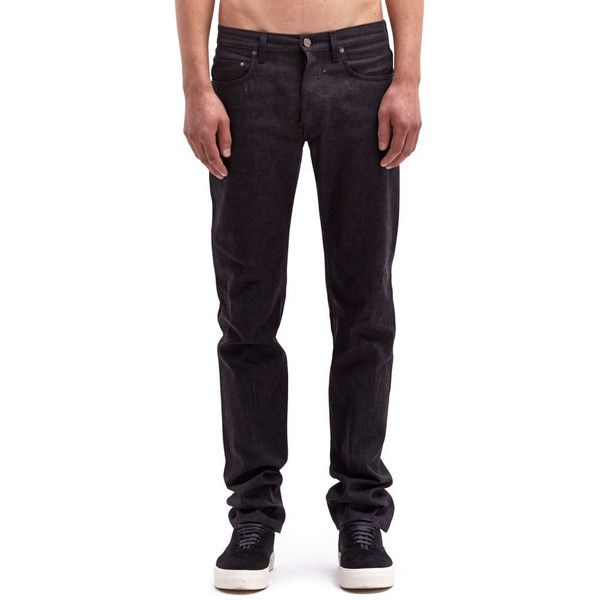 Acne Men's Nolan Raw Jeans ($71) ❤ liked on Polyvore featuring men's fashion, men's clothing, men's jeans and black