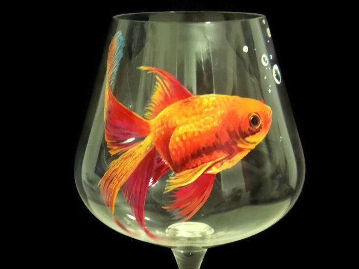 Gold fish wine glass hand painted aquarium orange pond for Painted glass fish