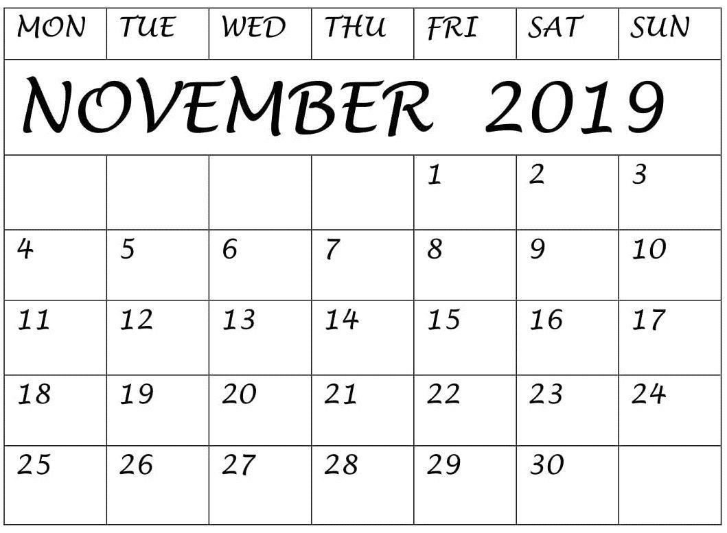 Blank Calendar November Printable A4 Page
