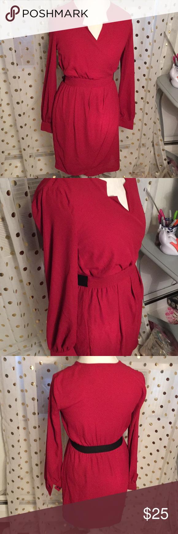Xoxo medium red long sleeve dress nwot my posh closet pinterest