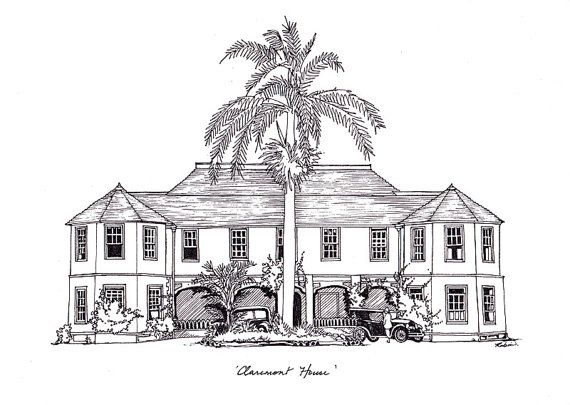 Claremont House St Mary Jamaica Drawing By Robin Clare Www