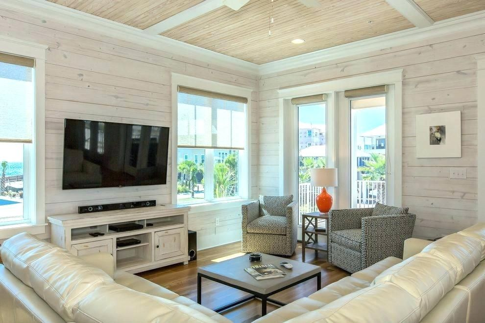 Whitewash Living Room Furniture Pine Beach Style With Ceiling