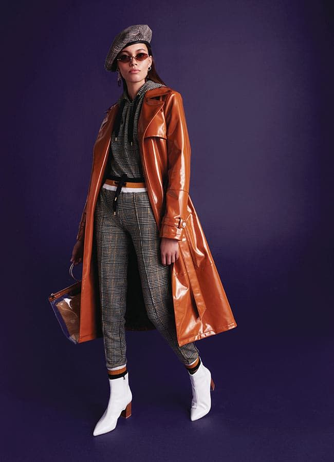 latest fashion authentic quality hot sales Brown vinyl trench coat £85.00, Grey check print taped ...