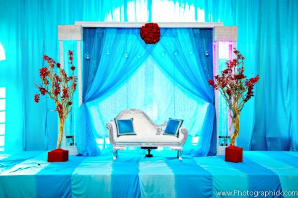 Decor Ideas For Indian Wedding Reception In Blue Turquoise And Red