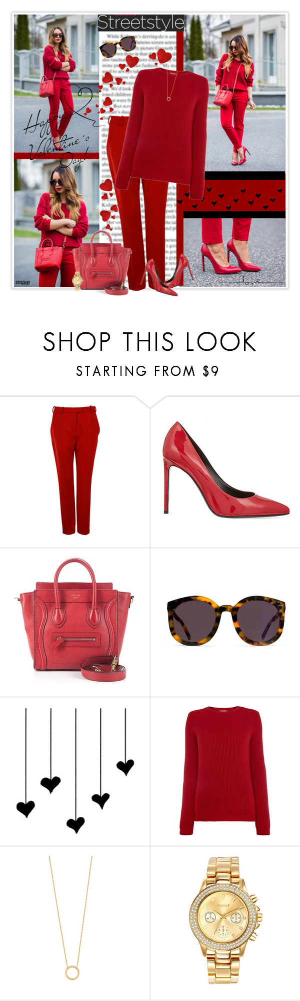 """""""Street Style - Valentine's Day Look"""" by marion-fashionista-diva-miller ❤ liked on Polyvore featuring Carven, CÉLINE, MaxMara, Jennifer Zeuner, Mestige, women's clothing, women, female, woman and misses"""