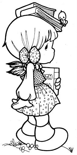 Student Girl Precious Moments Coloring Page Rubber Stamps