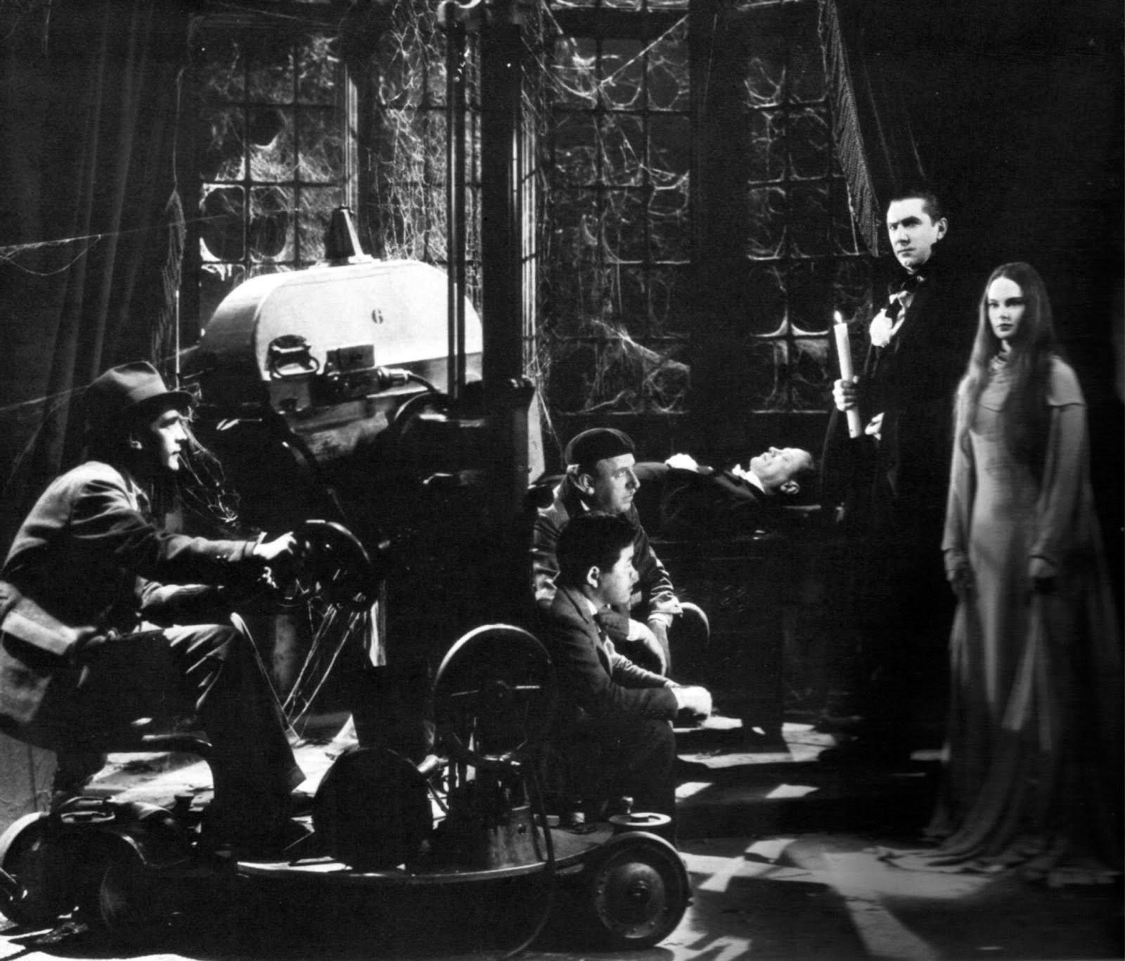 On the set of MARK OF THE VAMPIRE with Bela Lugosi and Carroll Borland.