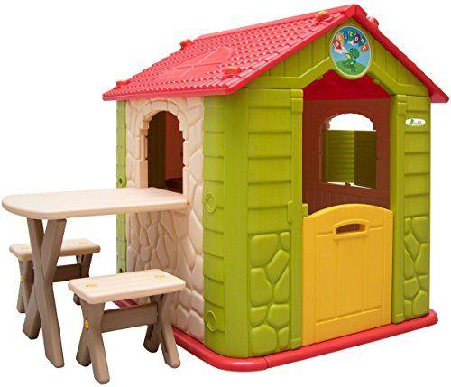 Littletom Maison De Jeu De Jardin En Plastique Maisonnette Pour Enfants Incl 1 Table 2 Bancs Beige Vert Table De Jeux Enfant Cabane Enfant Maison En Carton