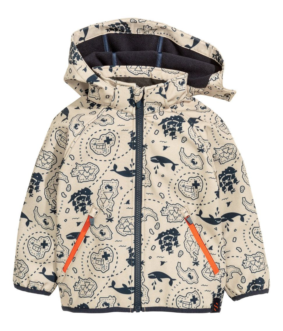 Windproof Soft Shell Graphic Jacket For The Little Explorer Detachable Hood Reflective Details And Thermal Kids Outerwear Kids Fashion Clothes Kids Fashion [ 1137 x 972 Pixel ]