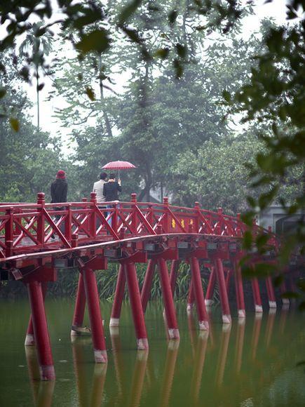 Red Bridge at Hoan Kiem Lake Photograph by Justin Guariglia